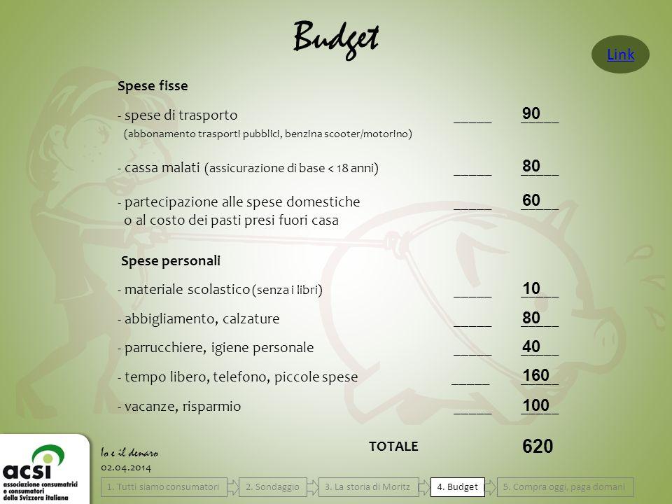 02.04.2014 Budget Io e il denaro Spese fisse - spese di trasporto__________ (abbonamento trasporti pubblici, benzina scooter/motorino) - cassa malati