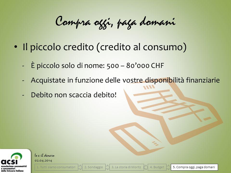 Compra oggi, paga domani Il piccolo credito (credito al consumo) 02.04.2014 Io e il denaro -È piccolo solo di nome: 500 – 80000 CHF -Acquistate in fun