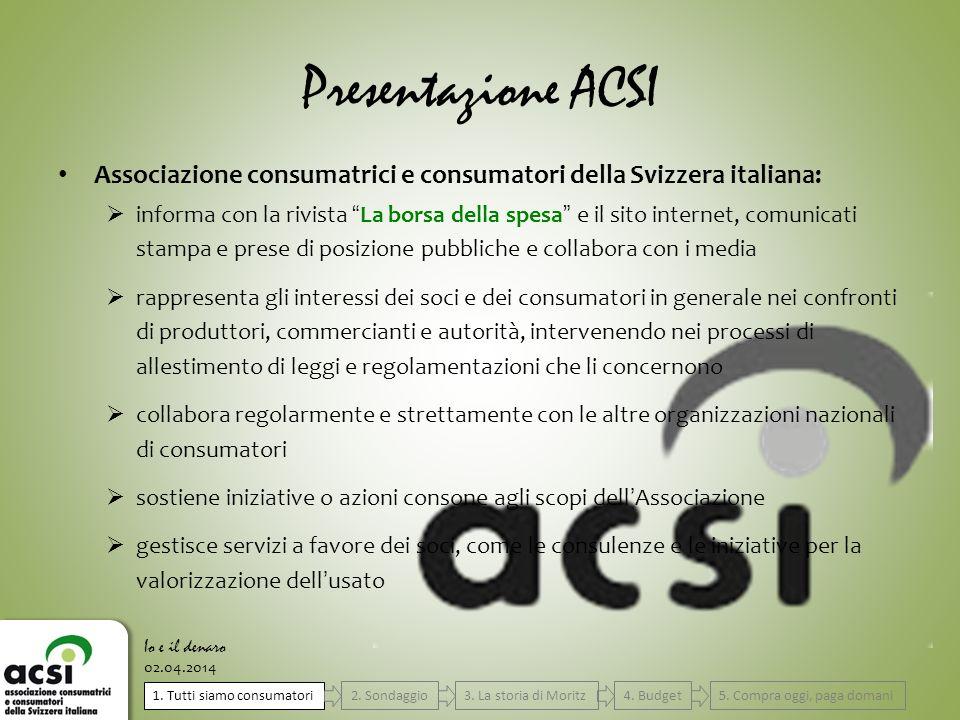 Presentazione ACSI Associazione consumatrici e consumatori della Svizzera italiana: informa con la rivista La borsa della spesa e il sito internet, co