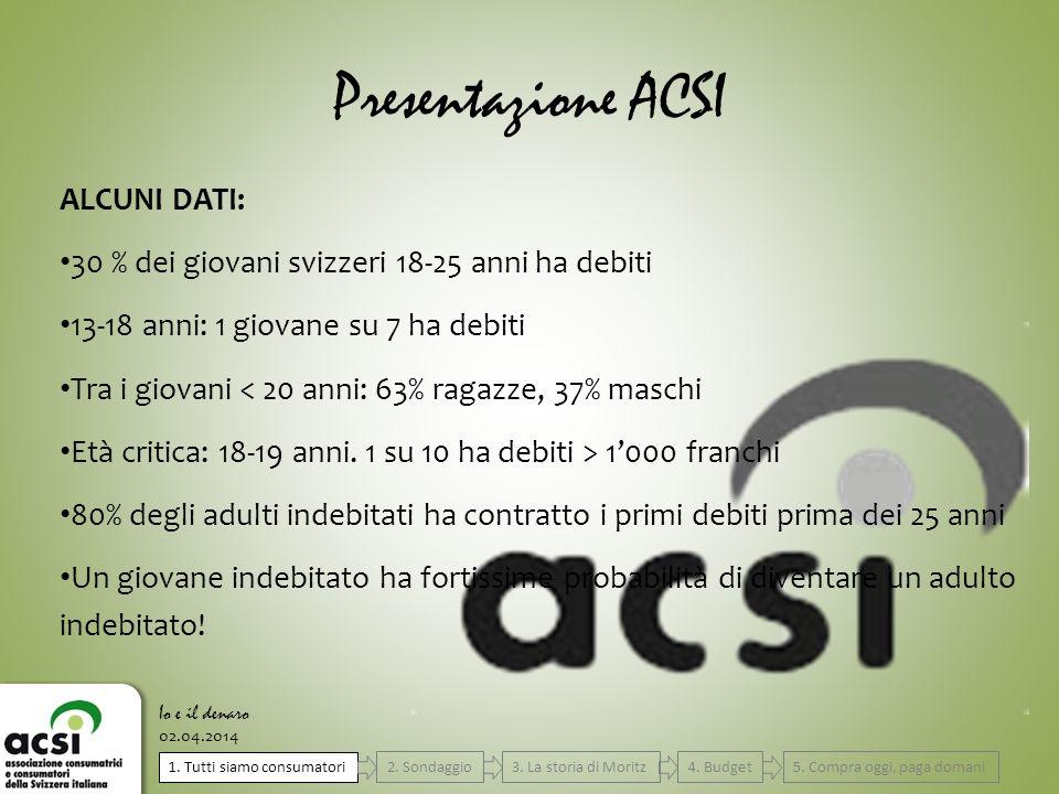 Presentazione ACSI ALCUNI DATI: 30 % dei giovani svizzeri 18-25 anni ha debiti 13-18 anni: 1 giovane su 7 ha debiti Tra i giovani < 20 anni: 63% ragaz