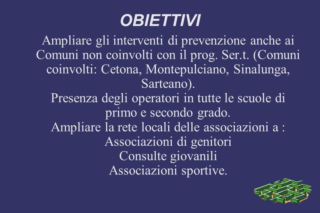 OBIETTIVI Ampliare gli interventi di prevenzione anche ai Comuni non coinvolti con il prog.