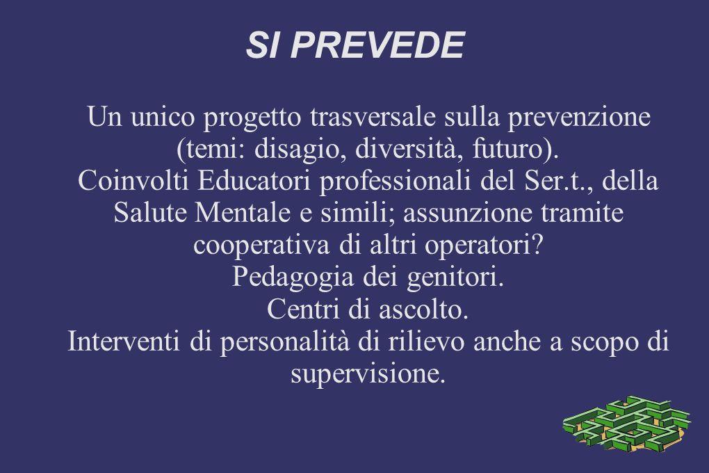 SI PREVEDE Un unico progetto trasversale sulla prevenzione (temi: disagio, diversità, futuro).
