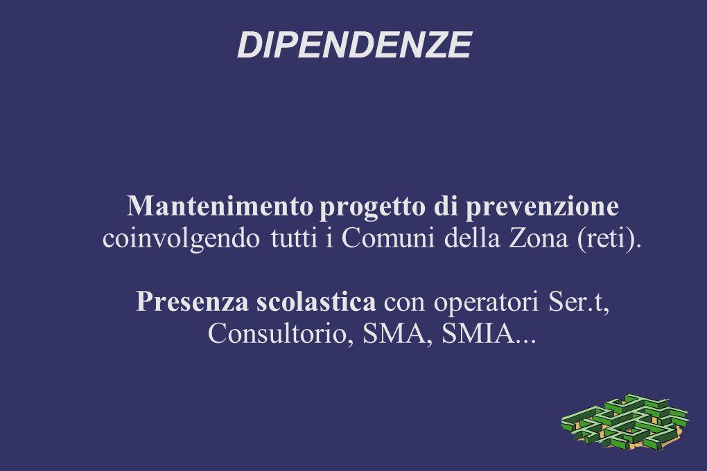DIPENDENZE Mantenimento progetto di prevenzione coinvolgendo tutti i Comuni della Zona (reti).