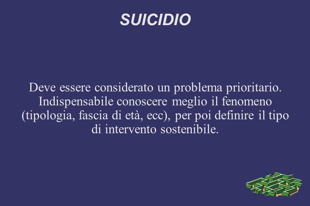 SUICIDIO Deve essere considerato un problema prioritario.