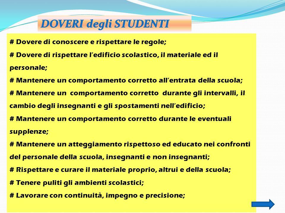 # Dovere di conoscere e rispettare le regole; # Dovere di rispettare ledificio scolastico, il materiale ed il personale; # Mantenere un comportamento