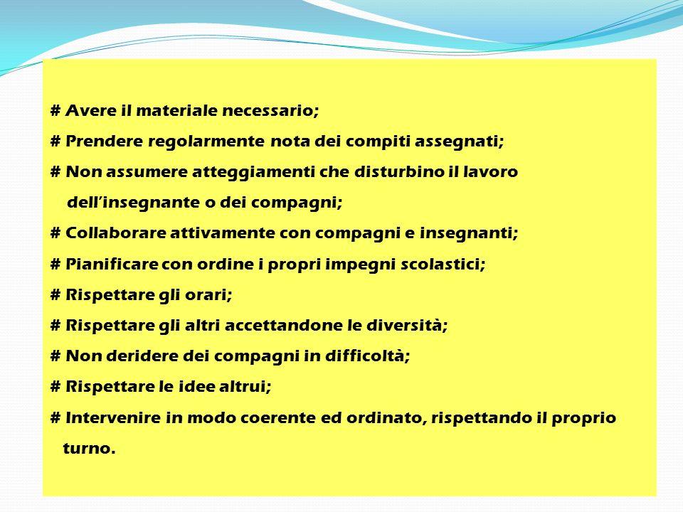 # Avere il materiale necessario; # Prendere regolarmente nota dei compiti assegnati; # Non assumere atteggiamenti che disturbino il lavoro dellinsegna
