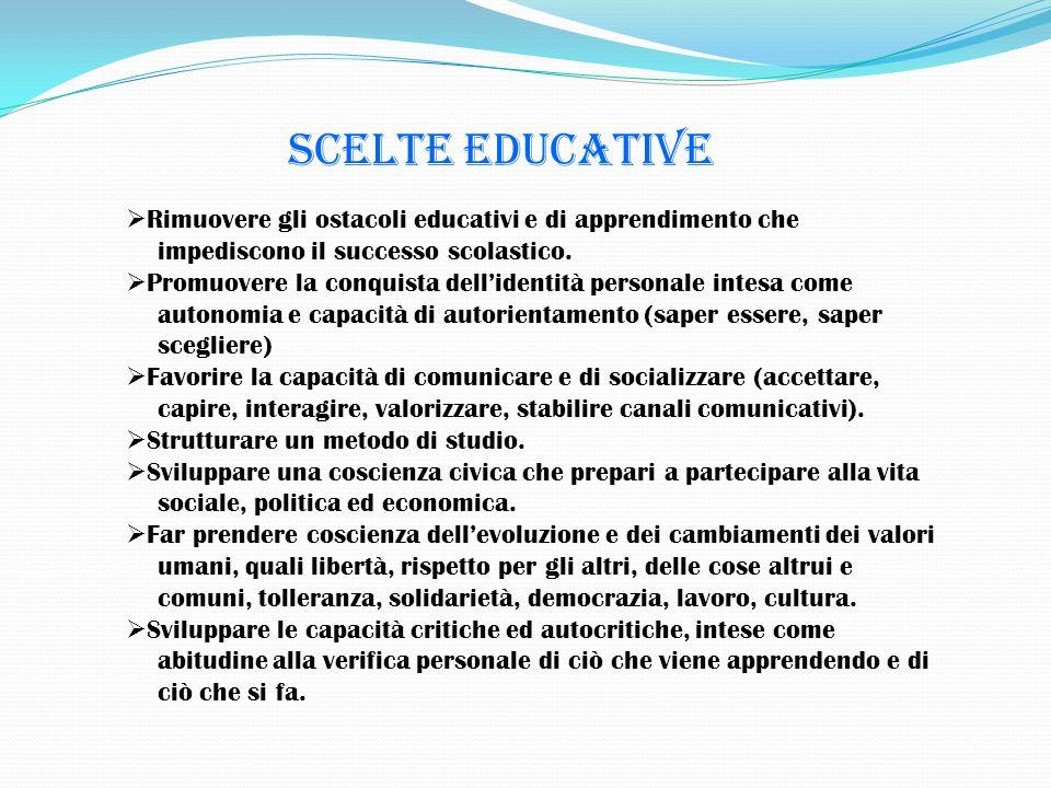 Scelte educative Rimuovere gli ostacoli educativi e di apprendimento che impediscono il successo scolastico. Promuovere la conquista dellidentità pers