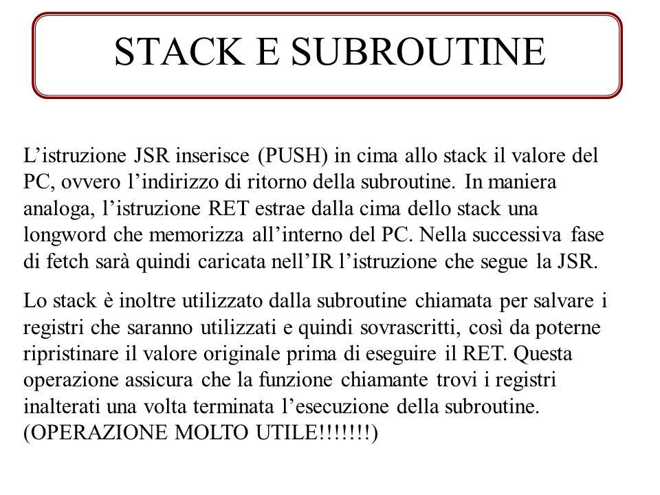 STACK E SUBROUTINE Listruzione JSR inserisce (PUSH) in cima allo stack il valore del PC, ovvero lindirizzo di ritorno della subroutine. In maniera ana