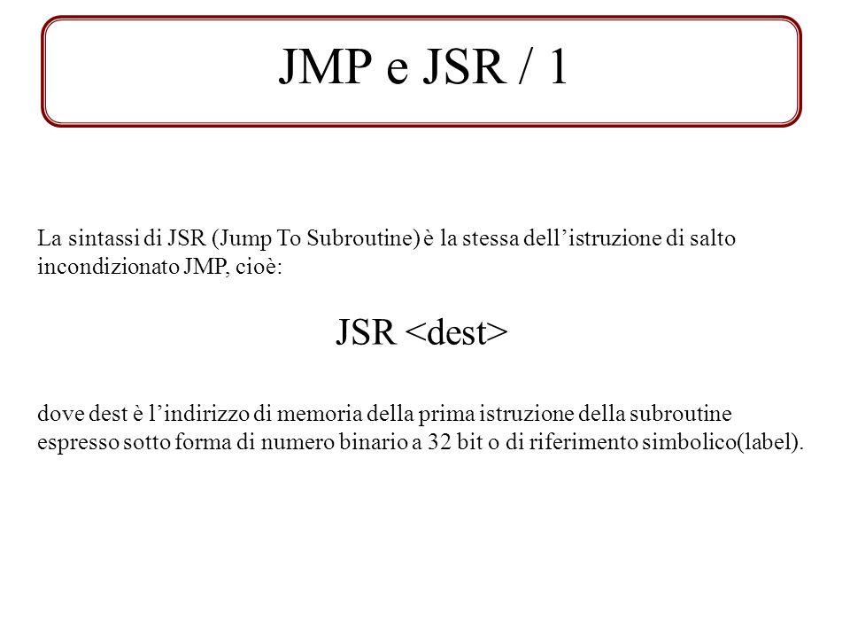 JMP e JSR / 1 La sintassi di JSR (Jump To Subroutine) è la stessa dellistruzione di salto incondizionato JMP, cioè: JSR dove dest è lindirizzo di memo