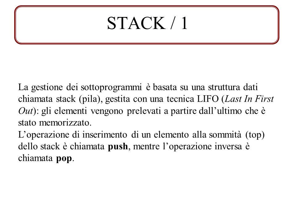 STACK / 1 La gestione dei sottoprogrammi è basata su una struttura dati chiamata stack (pila), gestita con una tecnica LIFO (Last In First Out): gli e