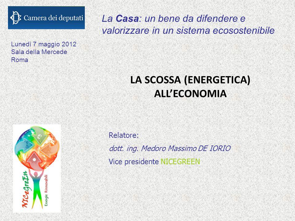 La Casa: un bene da difendere e valorizzare in un sistema ecosostenibile LA SCOSSA (ENERGETICA) ALLECONOMIA Lunedì 7 maggio 2012 Sala della Mercede Roma Relatore: dott.