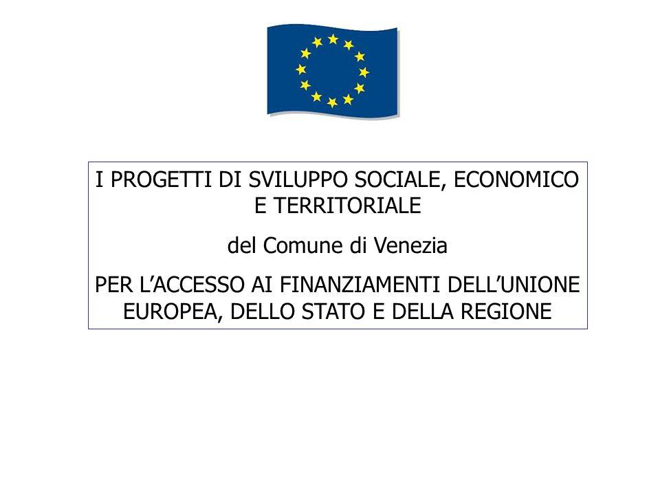I PROGETTI DI SVILUPPO SOCIALE, ECONOMICO E TERRITORIALE del Comune di Venezia PER LACCESSO AI FINANZIAMENTI DELLUNIONE EUROPEA, DELLO STATO E DELLA REGIONE