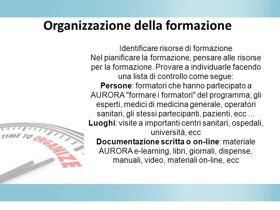 Organizzazione della formazione Identificare risorse di formazione Nel pianificare la formazione, pensare alle risorse per la formazione. Provare a in