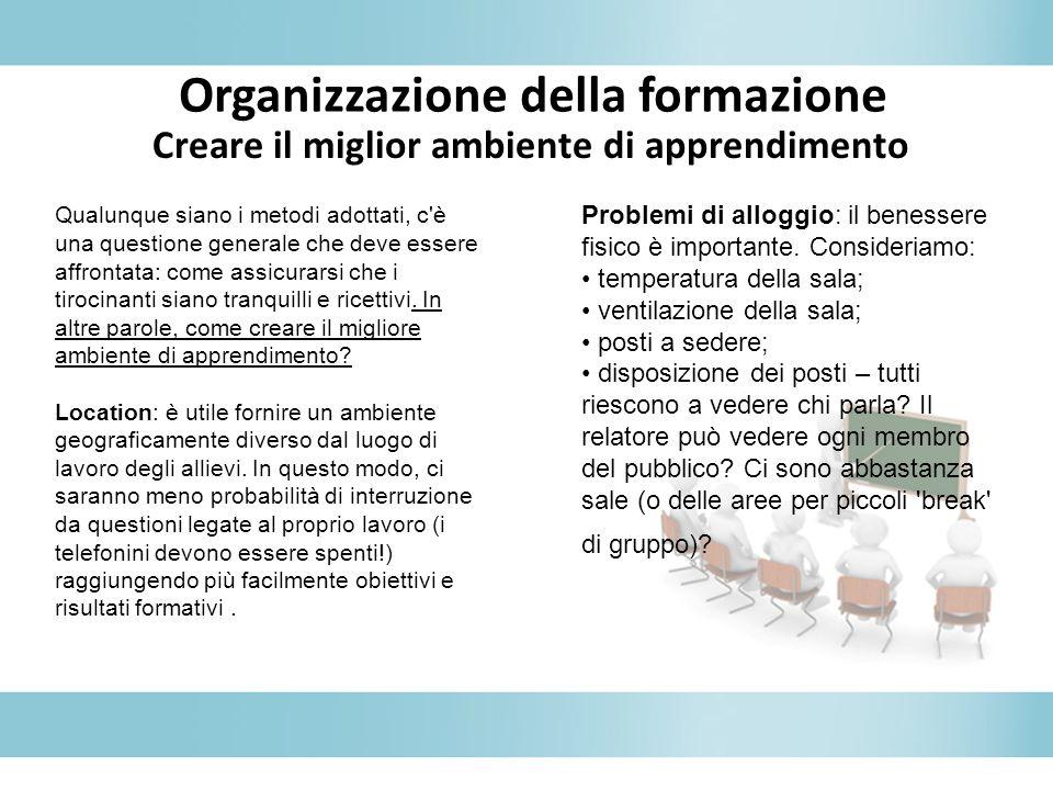Organizzazione della formazione Problemi di alloggio: il benessere fisico è importante. Consideriamo: temperatura della sala; ventilazione della sala;