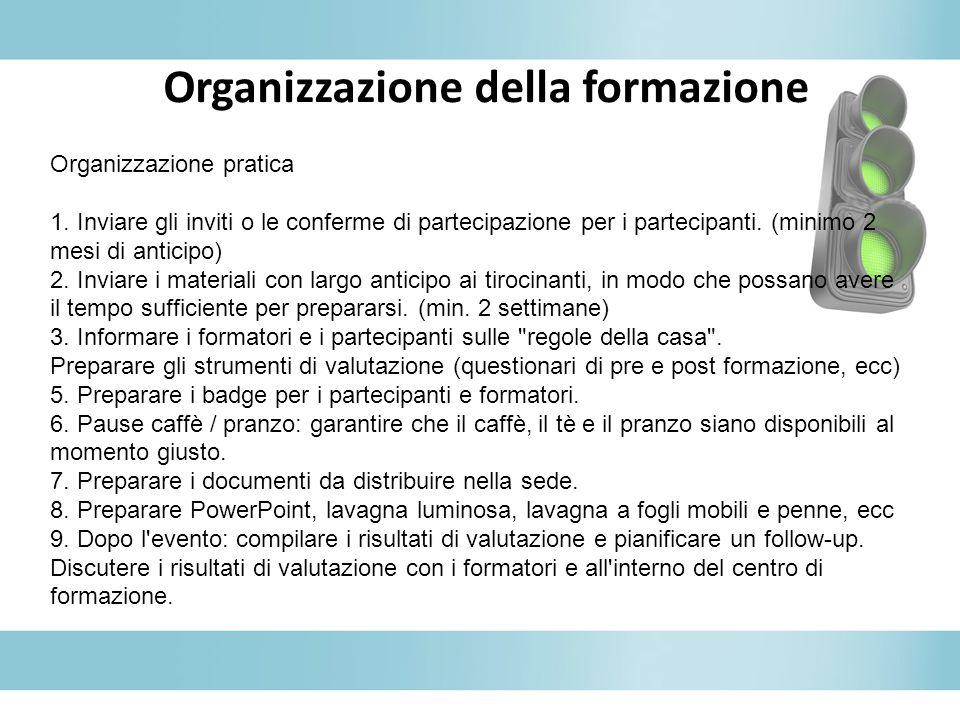 Organizzazione della formazione Organizzazione pratica 1. Inviare gli inviti o le conferme di partecipazione per i partecipanti. (minimo 2 mesi di ant