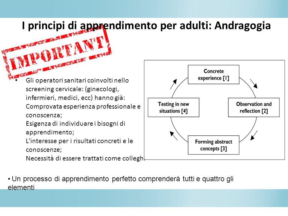 I principi di apprendimento per adulti: Andragogia Gli operatori sanitari coinvolti nello screening cervicale: (ginecologi, infermieri, medici, ecc) h