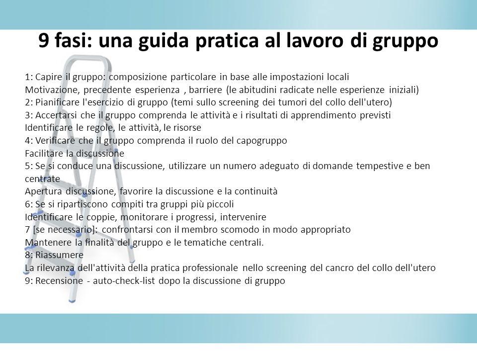 9 fasi: una guida pratica al lavoro di gruppo 1: Capire il gruppo: composizione particolare in base alle impostazioni locali Motivazione, precedente e
