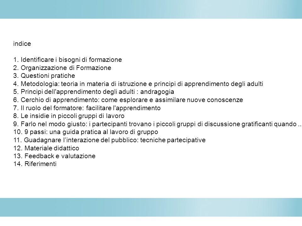 indice 1. Identificare i bisogni di formazione 2. Organizzazione di Formazione 3. Questioni pratiche 4. Metodologia: teoria in materia di istruzione e