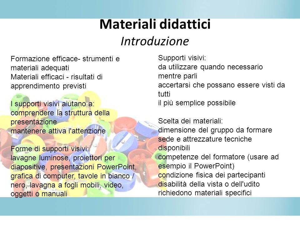 Materiali didattici Introduzione Formazione efficace- strumenti e materiali adequati Materiali efficaci - risultati di apprendimento previsti I suppor