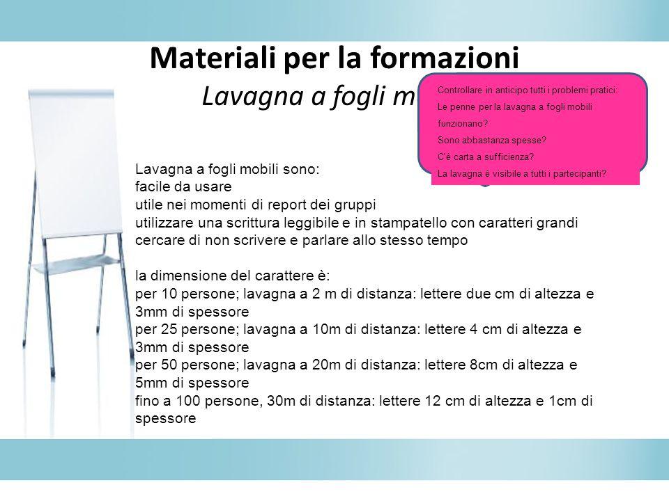 Materiali per la formazioni Lavagna a fogli mobili Lavagna a fogli mobili sono: facile da usare utile nei momenti di report dei gruppi utilizzare una