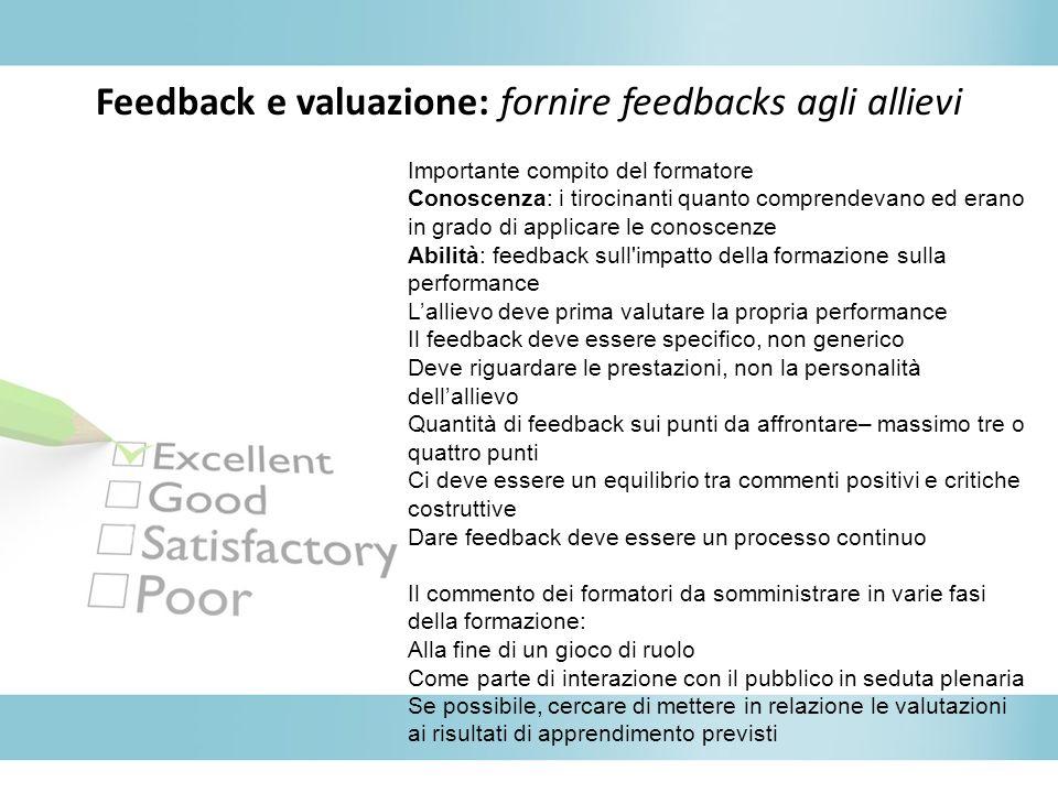 Feedback e valuazione: fornire feedbacks agli allievi Importante compito del formatore Conoscenza: i tirocinanti quanto comprendevano ed erano in grad