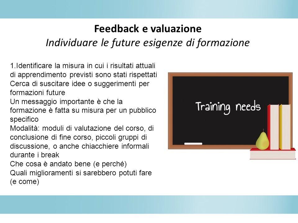 Feedback e valuazione Individuare le future esigenze di formazione 1.Identificare la misura in cui i risultati attuali di apprendimento previsti sono