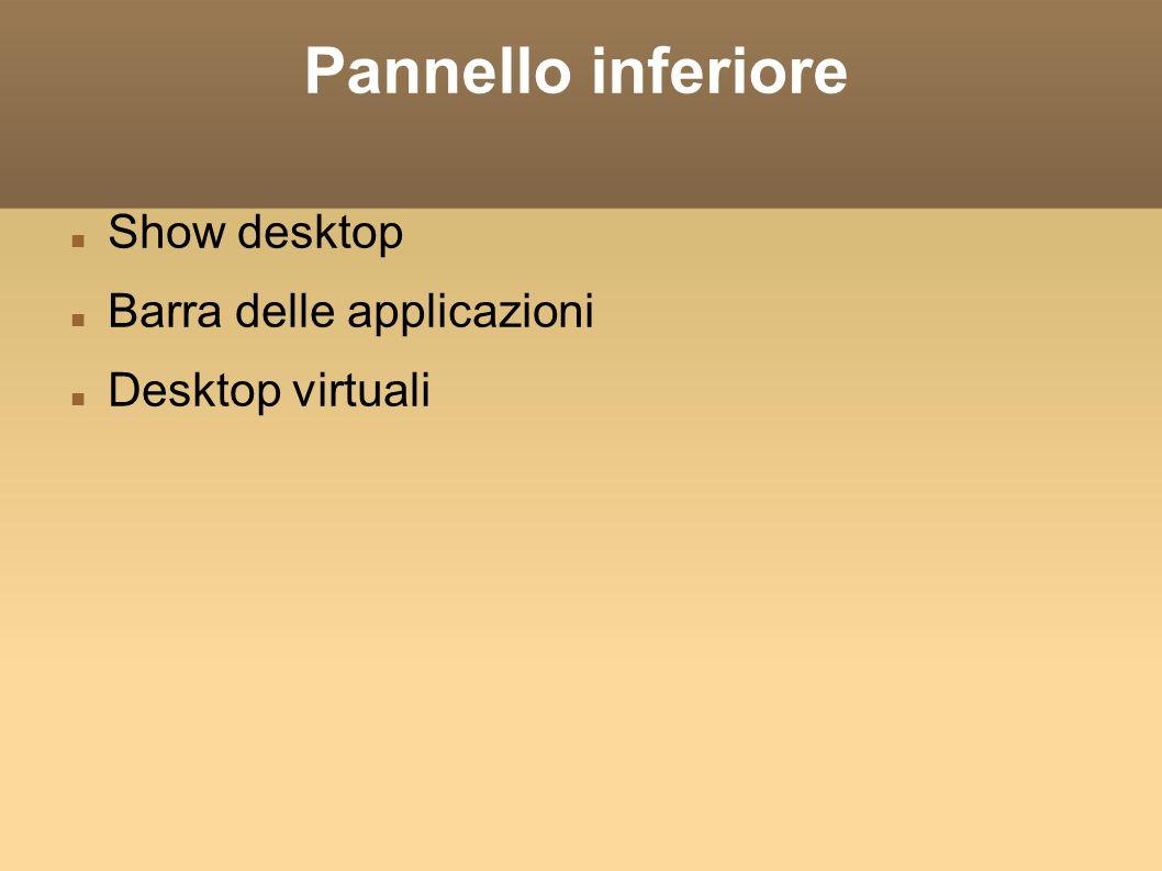 Pannello inferiore Show desktop Barra delle applicazioni Desktop virtuali
