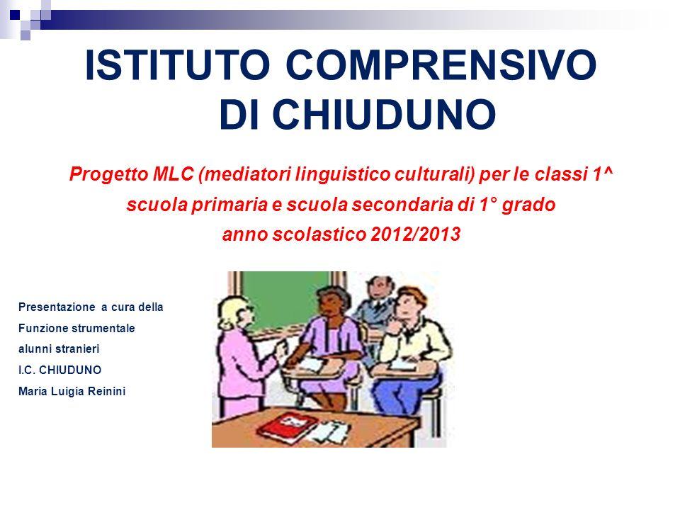 ISTITUTO COMPRENSIVO DI CHIUDUNO Progetto MLC (mediatori linguistico culturali) per le classi 1^ scuola primaria e scuola secondaria di 1° grado anno