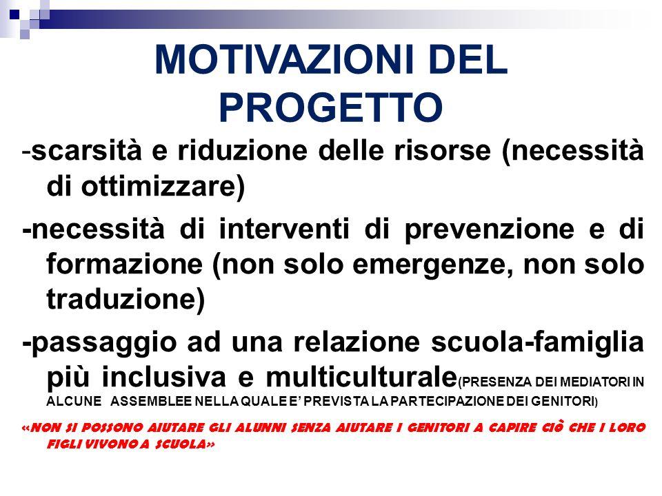 MOTIVAZIONI DEL PROGETTO -scarsità e riduzione delle risorse (necessità di ottimizzare) -necessità di interventi di prevenzione e di formazione (non s