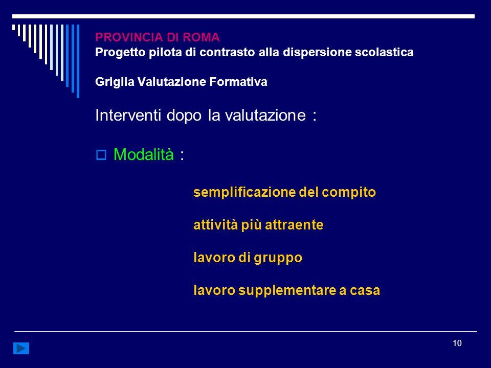 10 PROVINCIA DI ROMA Progetto pilota di contrasto alla dispersione scolastica Griglia Valutazione Formativa Interventi dopo la valutazione : Modalità