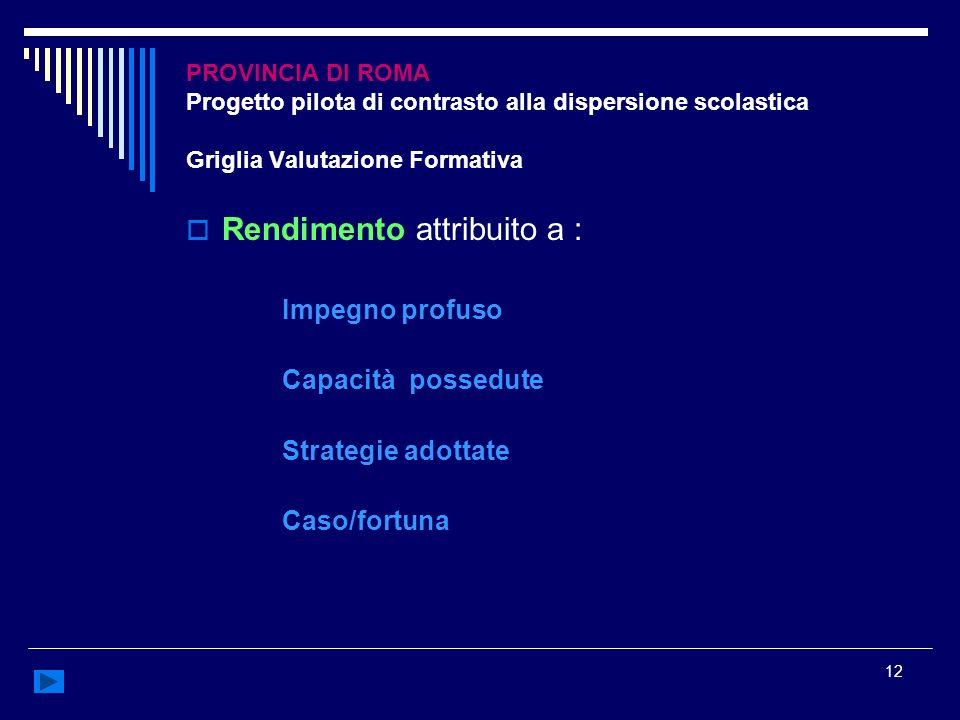 12 PROVINCIA DI ROMA Progetto pilota di contrasto alla dispersione scolastica Griglia Valutazione Formativa Rendimento attribuito a : Impegno profuso