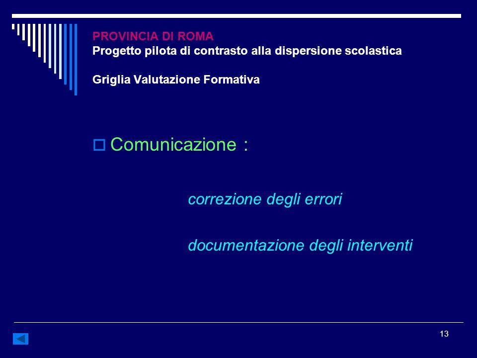 13 PROVINCIA DI ROMA Progetto pilota di contrasto alla dispersione scolastica Griglia Valutazione Formativa Comunicazione : correzione degli errori do