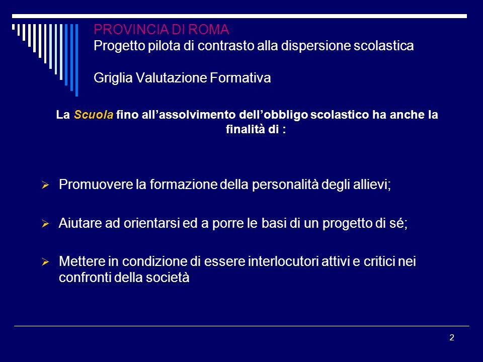 2 PROVINCIA DI ROMA Progetto pilota di contrasto alla dispersione scolastica Griglia Valutazione Formativa La Scuola fino allassolvimento dellobbligo