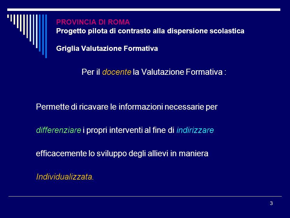 3 PROVINCIA DI ROMA Progetto pilota di contrasto alla dispersione scolastica Griglia Valutazione Formativa Per il docente la Valutazione Formativa : P