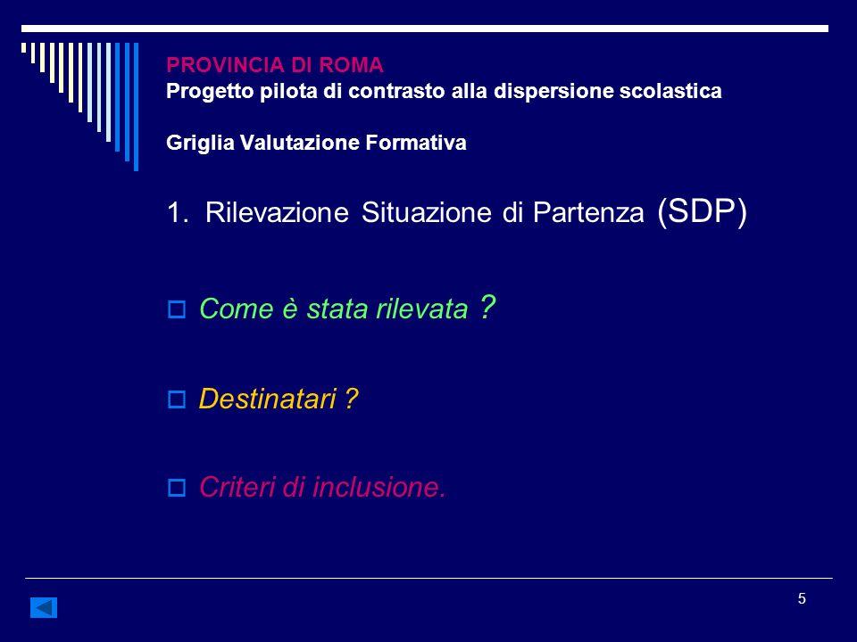 5 PROVINCIA DI ROMA Progetto pilota di contrasto alla dispersione scolastica Griglia Valutazione Formativa 1. Rilevazione Situazione di Partenza (SDP)
