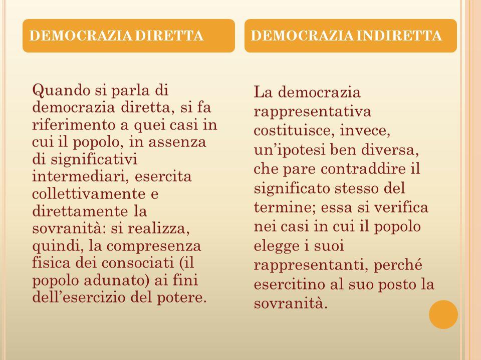Il progresso della civiltà si chiama democrazia DEMOCRAZIA DIRETTA E DEMOCRAZIA RAPPRESENTATIVA Il popolo adunato Si è parlato tanto di democrazia; da