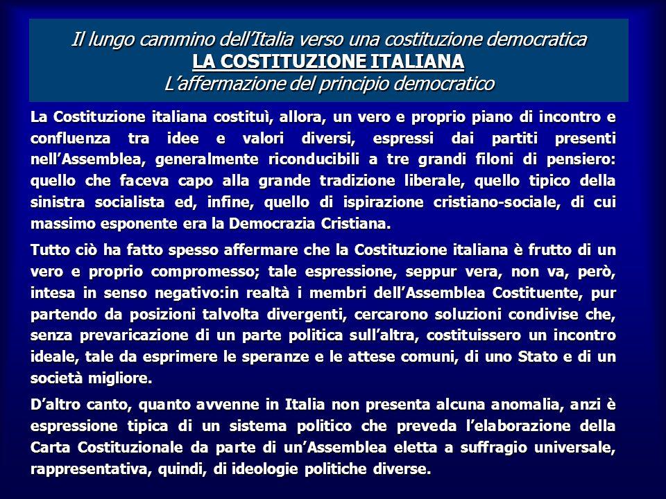 LA COSTITUZIONE ITALIANA LA COSTITUZIONE ITALIANA Il lungo cammino dellItalia verso una costituzione democratica LA COSTITUZIONE ITALIANA laffermazion