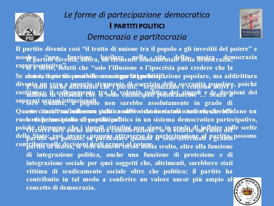 I PARTITI POLITICI Le forme di partecipazione democratica I PARTITI POLITICI Democrazia e partitocrazia Nellart. 49 della nostra Costituzione si affer