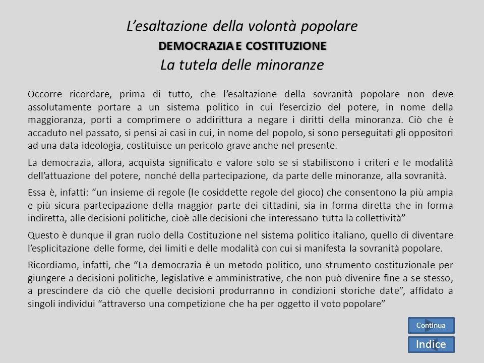 Da tutto quanto è stato detto mi sembra di capire che laffermazione della democrazia sicuramente costituisce un grande risultato per il popolo italian