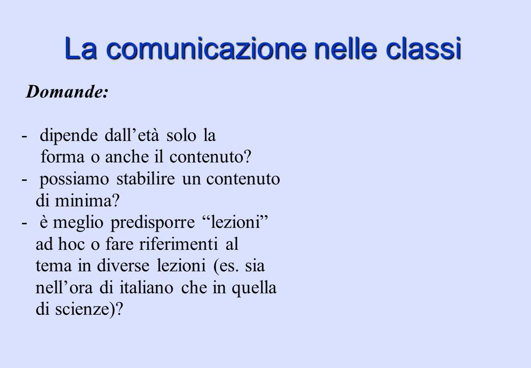La comunicazione nelle classi Proposte: -Si può partire sondando quanto già i ragazzi conoscono: potremmo avere delle sorprese