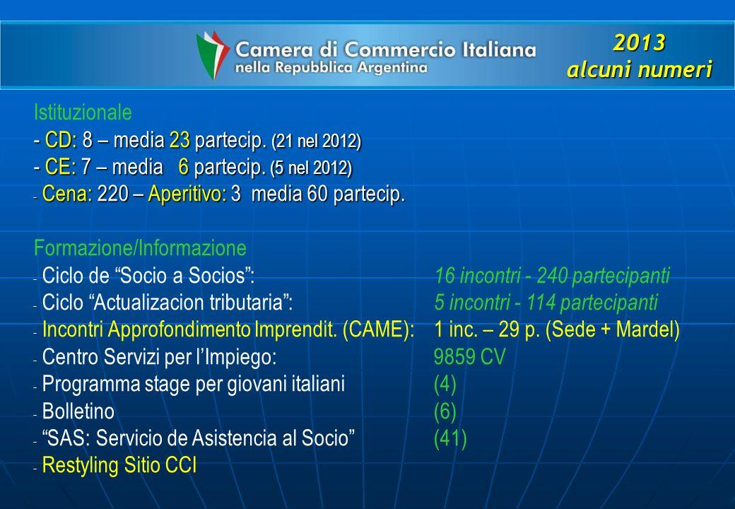 2013 alcuni numeri Istituzionale - CD: 8 – media 23 partecip.