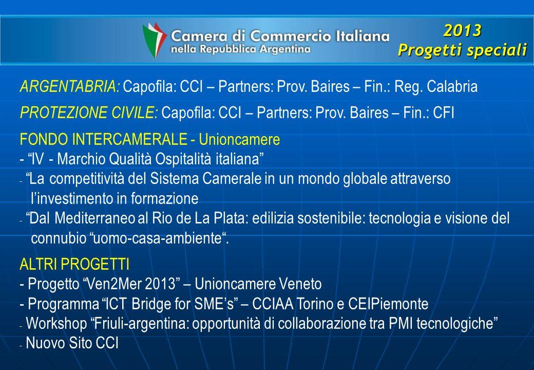 2013 Progetti speciali ARGENTABRIA: Capofila: CCI – Partners: Prov.