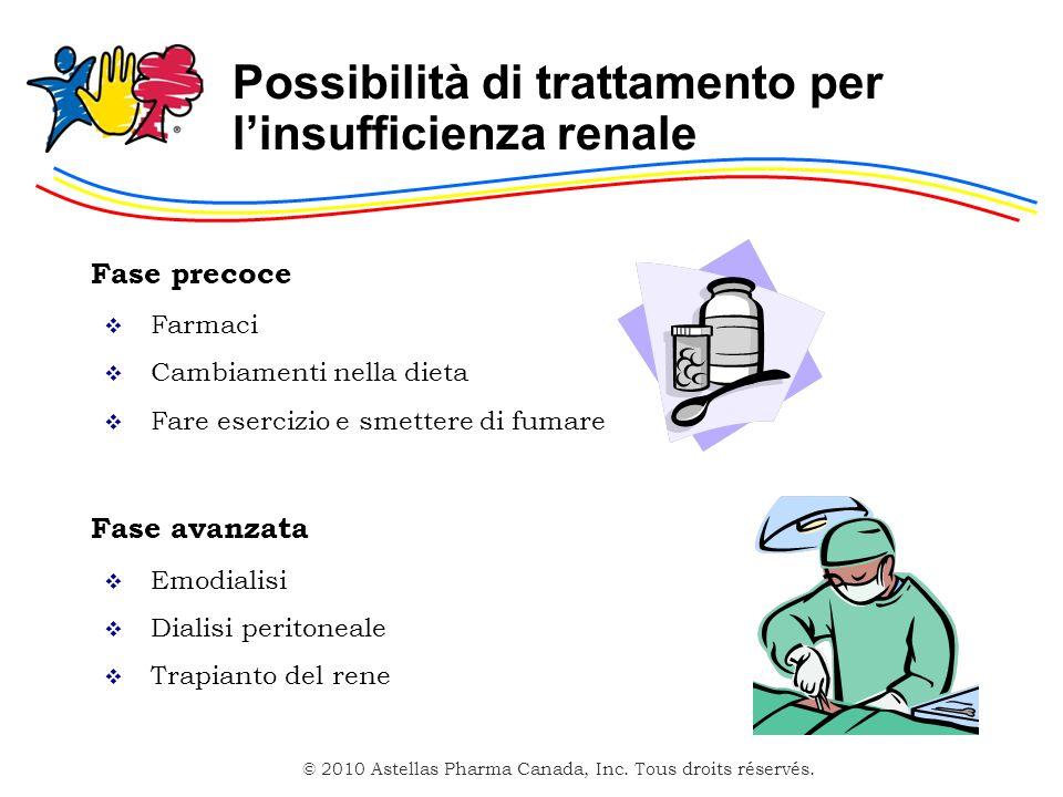 © 2010 Astellas Pharma Canada, Inc. Tous droits réservés. Possibilità di trattamento per linsufficienza renale Fase precoce Farmaci Cambiamenti nella