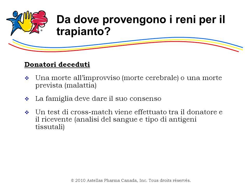 © 2010 Astellas Pharma Canada, Inc. Tous droits réservés. Da dove provengono i reni per il trapianto? Donatori deceduti Una morte allimprovviso (morte