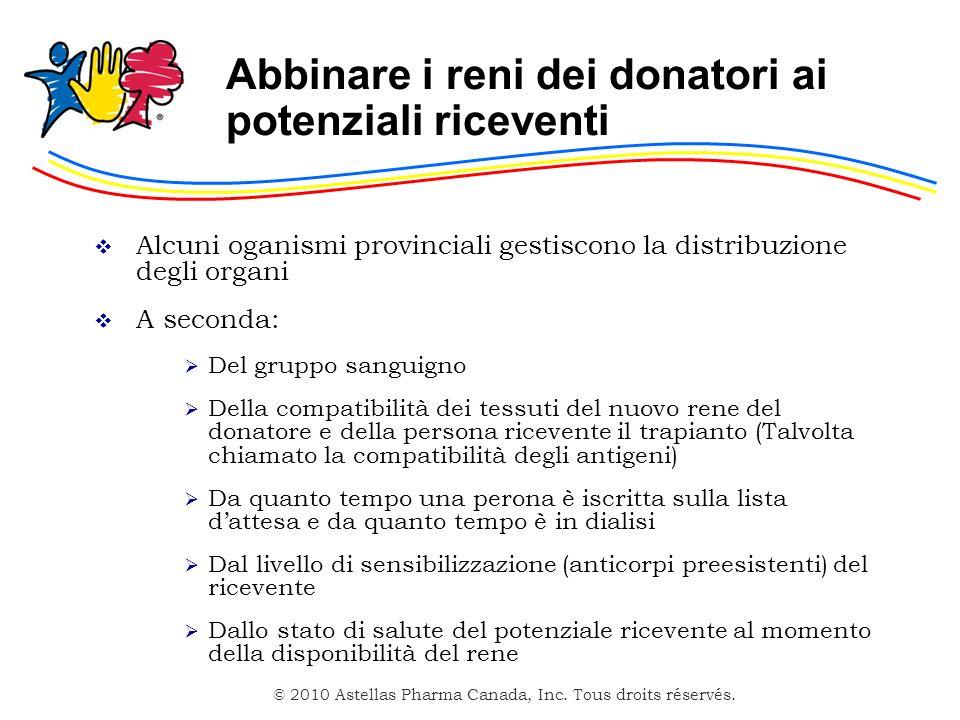 © 2010 Astellas Pharma Canada, Inc. Tous droits réservés. Abbinare i reni dei donatori ai potenziali riceventi Alcuni oganismi provinciali gestiscono