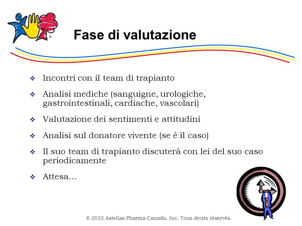 © 2010 Astellas Pharma Canada, Inc. Tous droits réservés. Fase di valutazione Incontri con il team di trapianto Analisi mediche (sanguigne, urologiche