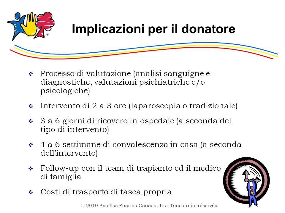 © 2010 Astellas Pharma Canada, Inc. Tous droits réservés. Implicazioni per il donatore Processo di valutazione (analisi sanguigne e diagnostiche, valu