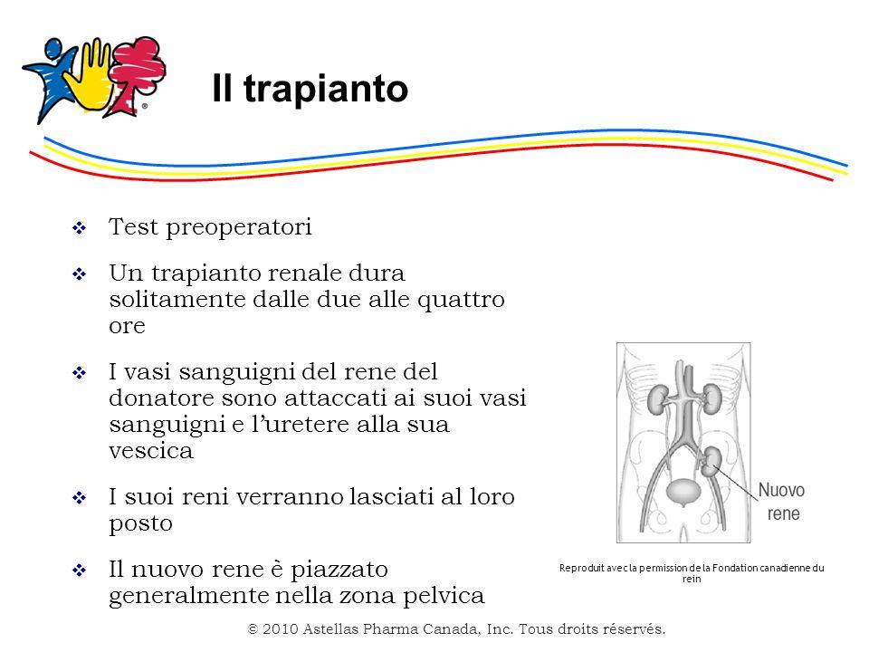 © 2010 Astellas Pharma Canada, Inc. Tous droits réservés. Il trapianto Test preoperatori Un trapianto renale dura solitamente dalle due alle quattro o