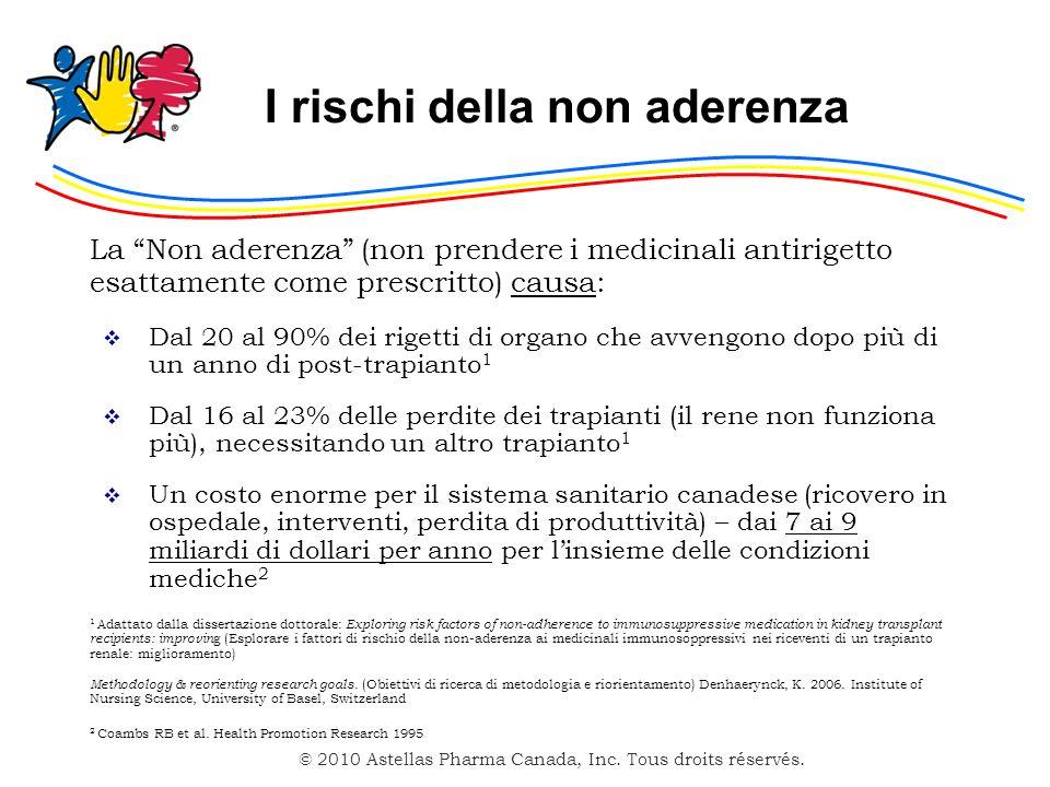 © 2010 Astellas Pharma Canada, Inc. Tous droits réservés. I rischi della non aderenza La Non aderenza (non prendere i medicinali antirigetto esattamen