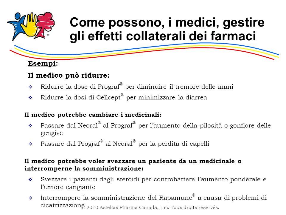 © 2010 Astellas Pharma Canada, Inc. Tous droits réservés. Come possono, i medici, gestire gli effetti collaterali dei farmaci Esempi: Il medico può ri